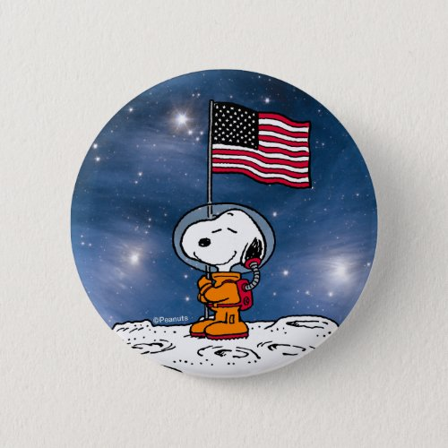 NASA  Snoopy With Flag Astronaut Button