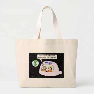 nasa space astronauts can opener large tote bag