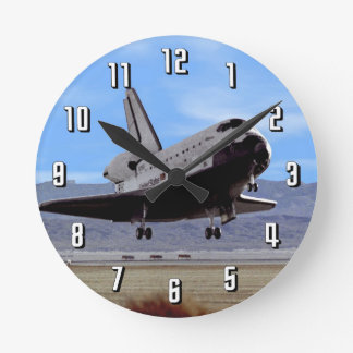 NASA Space Shuttle Atlantis Landing Edwards AFB Round Clock