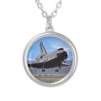 NASA Space Shuttle Atlantis Landing Edwards AFB Silver Plated Necklace