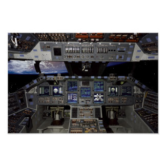 NASA Space Shuttle Cockpit Earth Orbit Window View Poster
