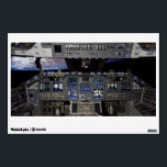 """NASA Space Shuttle Cockpit Earth Orbit Window View Wall Decal<br><div class=""""desc"""">The &quot;glass cockpit&quot; installed on the Space Shuttle in March 2000 with planet Earth visible through window. Eleven new full-color,  flat-panel display screens in the Shuttle cockpit replace 32 gauges and electromechanical displays and four cathode-ray tube displays and was installed on all shuttles in the NASA fleet in 2002.</div>"""