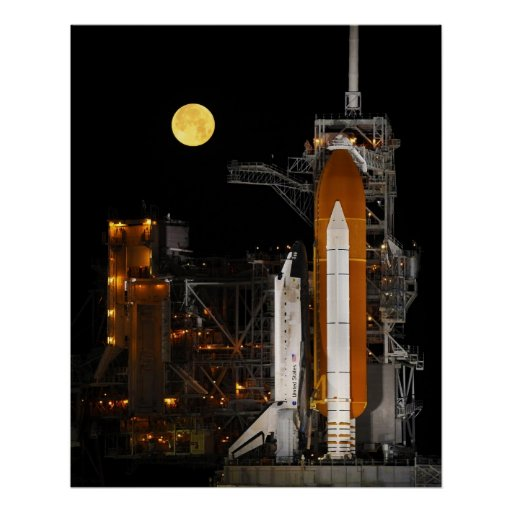 NASA Space Shuttle Discovery under a full moon Poster