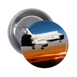 NASA SPACE SHUTTLE FLYING INTO COCOA BEACH 2 INCH ROUND BUTTON