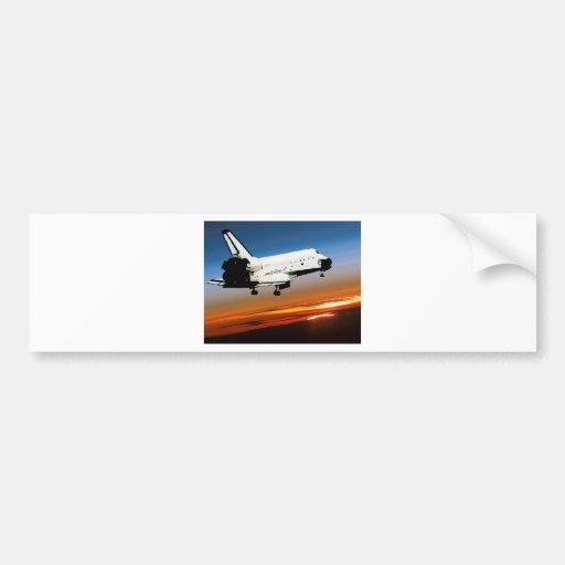 NASA SPACE SHUTTLE FLYING INTO COCOA BEACH CAR BUMPER STICKER