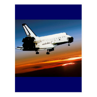 NASA SPACE SHUTTLE FLYING INTO COCOA BEACH POSTCARD