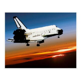 NASA SPACE SHUTTLE FLYING INTO COCOA BEACH POSTCARD