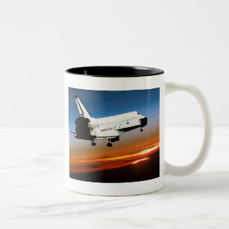 NASA SPACE SHUTTLE FLYING INTO COCOA BEACH Two-Tone COFFEE MUG
