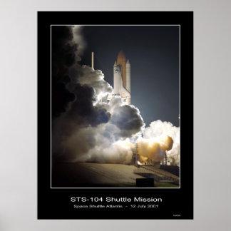 NASA STS-104 del despegue de la Atlántida del tran Póster