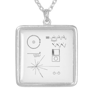 NASA Voyager Golden Record Square Pendant Necklace
