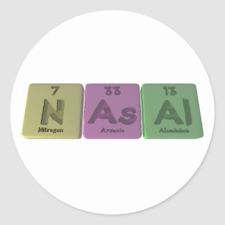 Nasal-N-As-Al-Nitrogen-Arsenic-Aluminium.png Pegatina Redonda