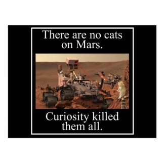 NASA's Curiosity Rover & No Cats On Mars Postcard