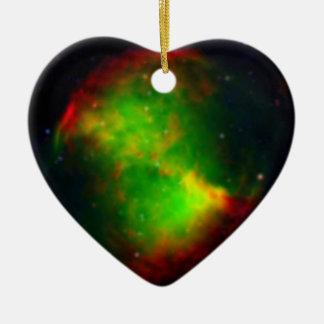 NASAs  Dumbbell Nebula Double-Sided Heart Ceramic Christmas Ornament