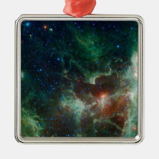 NASAs Heart And Soul Nebula Square Metal Christmas Ornament
