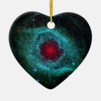 NASAs Helix Nebulae Double-Sided Heart Ceramic Christmas Ornament