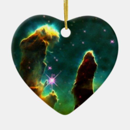 NASAs Pillars of creation Double-Sided Heart Ceramic Christmas Ornament