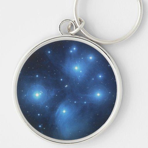 NASAs Pleiades Llavero Redondo Plateado