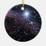 NASAs Veil Nebula Double-Sided Ceramic Round Christmas Ornament