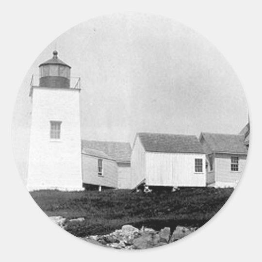 Nash Island Lighthouse Classic Round Sticker