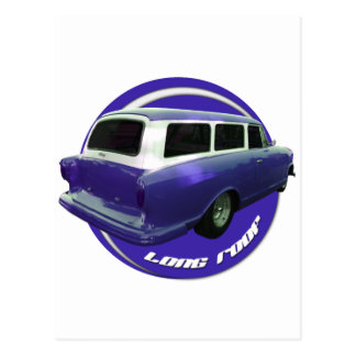 nash long roof blue station wagon postcard