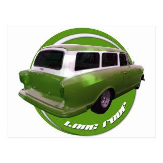 nash long roof green station wagon postcard