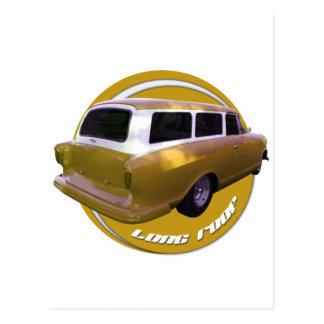 nash long roof station wagon golden yellow postcard