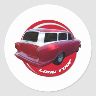nash long roof station wagon  red classic round sticker