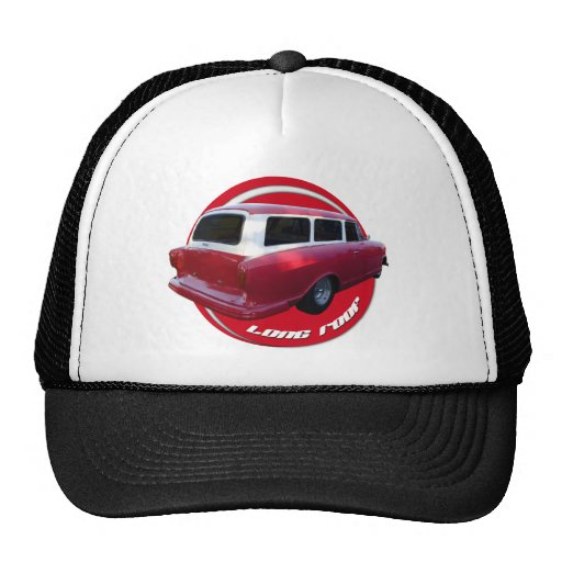 nash long roof station wagon  red mesh hat