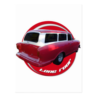 nash long roof station wagon  red postcard