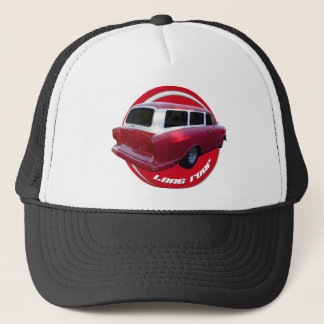 nash long roof station wagon  red trucker hat