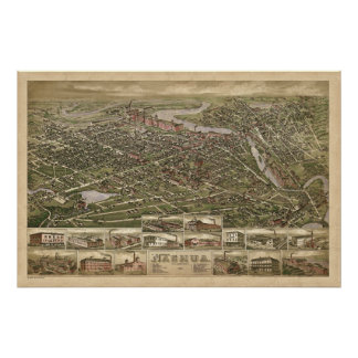 Nashua NH panoramic birdseye view 1883 Poster