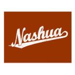 Nashua script logo in white distressed postcards