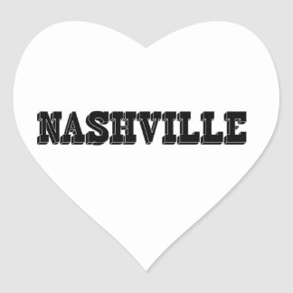 Nashville Black Block Heart Sticker