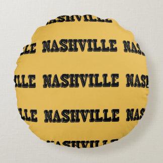 Nashville Black Block Round Pillow
