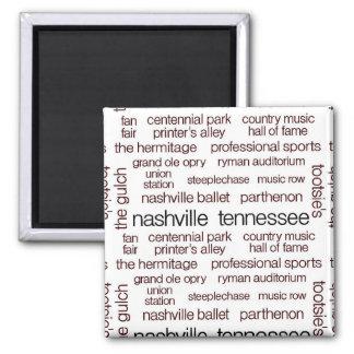 Nashville Brown 2 Inch Square Magnet