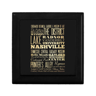 Nashville City of Tennessee State Typography Art Gift Box