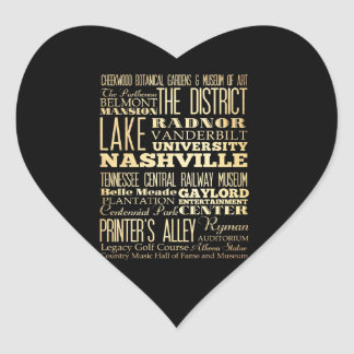 Nashville City of Tennessee State Typography Art Heart Sticker