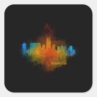 Nashville City Skyline in Tennessee v4 Dark Square Sticker