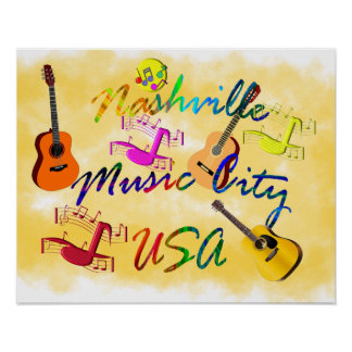 Nashville - ciudad los E.E.U.U. de la música Póster