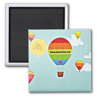 Nashville Colorful Hot Air Balloon 2 Inch Square Magnet