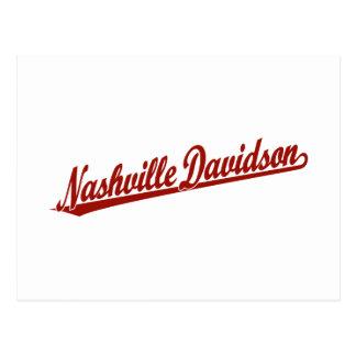 Nashville-Davidson script logo in red Post Card