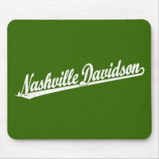 Nashville-Davidson script logo in white distressed Mouse Pad