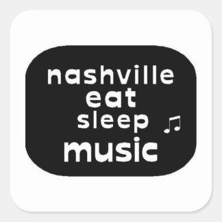 Nashville Eat Sleep Music Square Sticker
