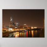 Nashville en la impresión de la noche poster