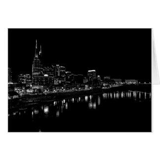 Nashville en la noche tarjeta de felicitación