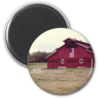 Nashville farms red house field 6 cm round magnet