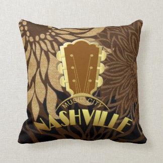 "Nashville Gold Guitar Floral Pillow 16"" x 16"""