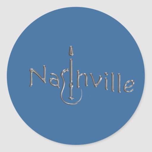 nashville gold tone classic round sticker