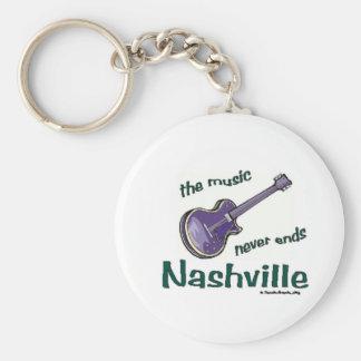 Nashville Guitar Basic Round Button Keychain