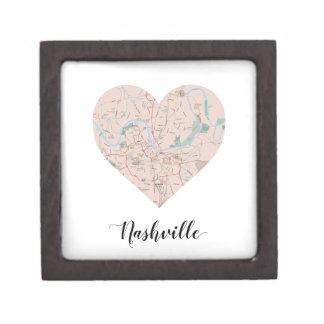 Nashville Heart Map Keepsake Box